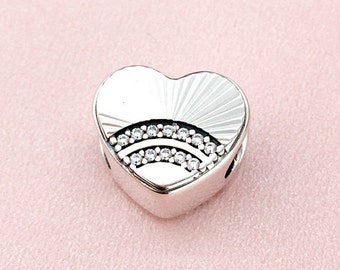 Fan of Love Charm, 100% 925 Sterling Silver & Clear Cubic Zirconia, Charm Fits to all Pandora Bracelets Jewelry Diy, Summer Collection