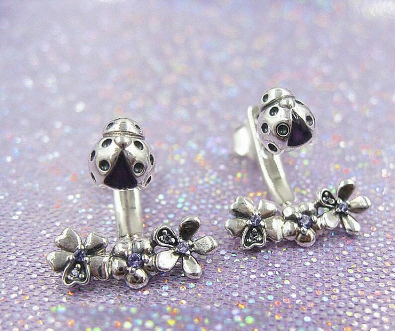 cd0fd3831 Ladybug Meadow Jacket Earrings 100% 925 Sterling Silver With | Etsy