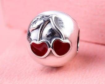 Cherry Love Clip Charm, 100% 925 Sterling Silver with Red Enamel Charm Fits to all Pandora Charm Bracelets
