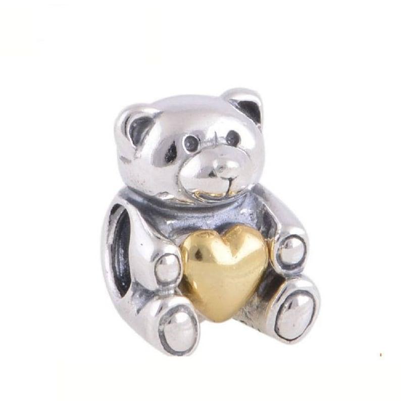 4f6e0fc43 Two Tone Heart Teddy Bear Charm 100% 925 Sterling Silver & | Etsy