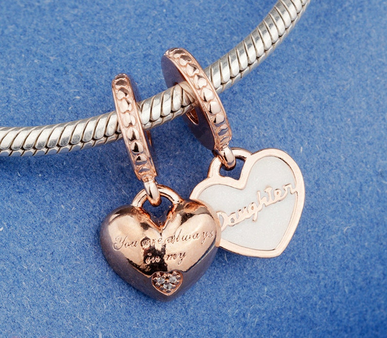 4d00e96a51e0c Mother & Daughter Hearts Dangle Charm, Rose™, Enamel and Clear Cubic  Zirconia Charm Fits to all Pandora Charm Bracelets, Rose Gold