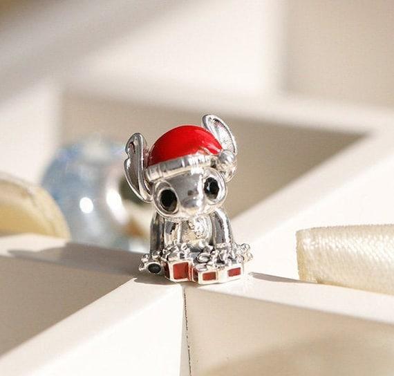 Disney Stitch Christmas Charm 100% 925 Sterling Silver & Red | Etsy
