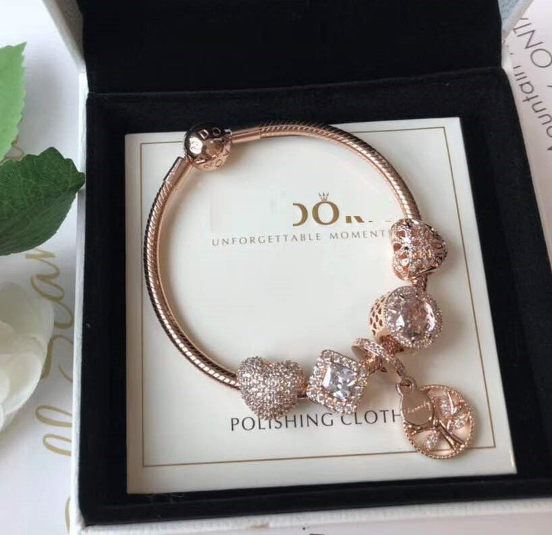 9f985fc32 Moments Smooth Rose Clasp Bracelet With Charms Rose Gold TM & | Etsy