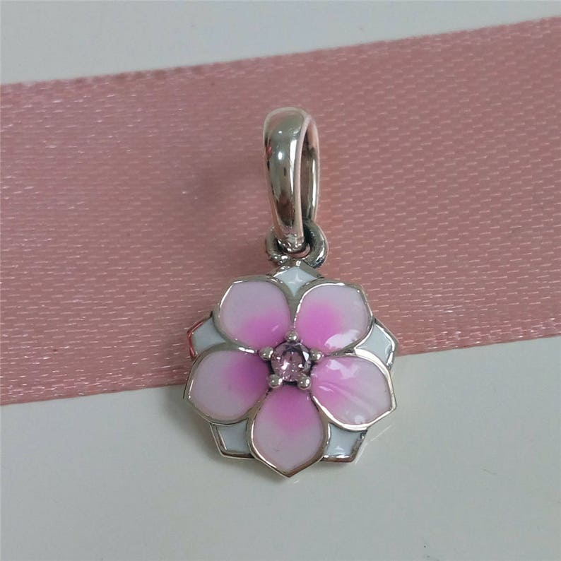 11167b11137a4 Magnolia Bloom Pendant Charm, Genuine Sterling Silver with Pale Cerise  Enamel & Pink Cubic Zirconia Charm Fits to all Charm Bracelets