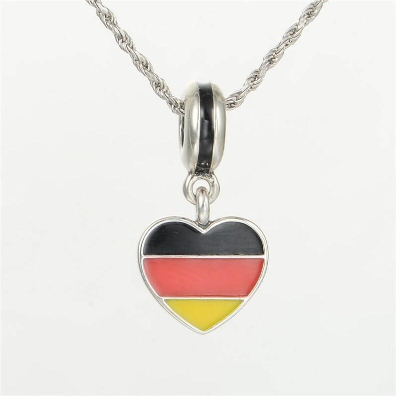 f842ad29f Germany Heart Flag Pendant Charm 925 Sterling Silver & Enamel | Etsy