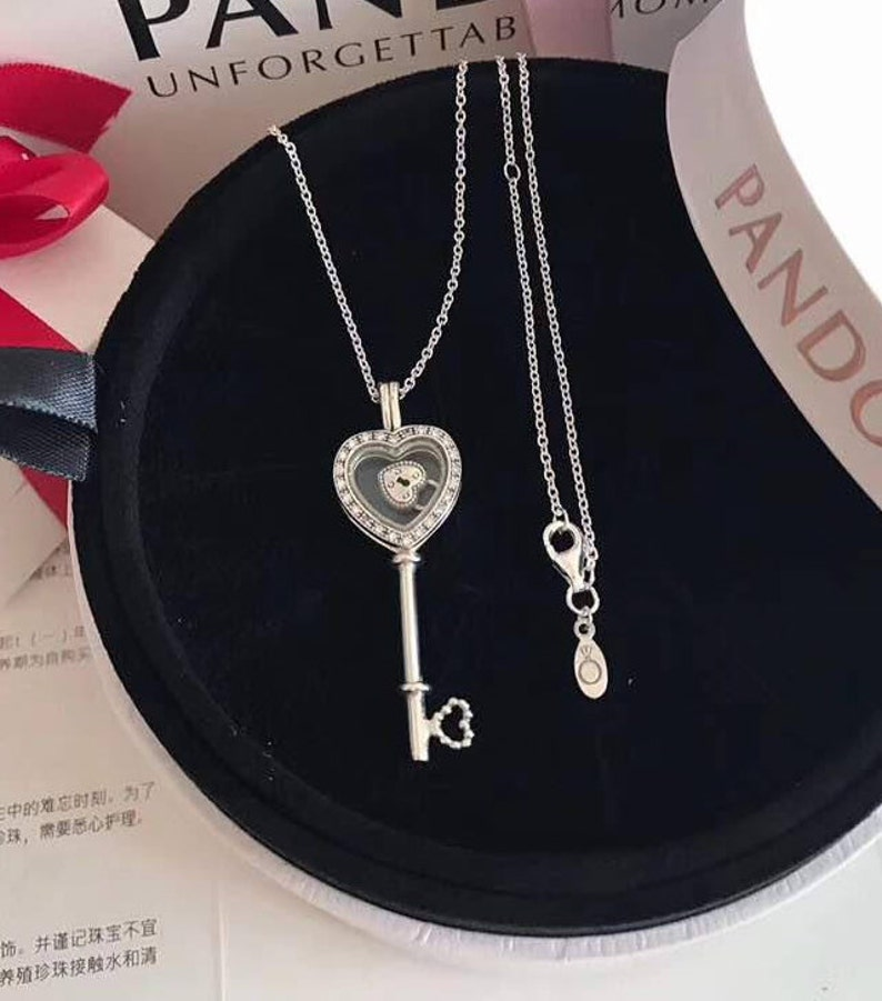 277227fb2 Floating Locket Heart Key Necklace 100% 925 Sterling Silver | Etsy