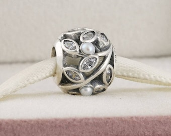 Luminous Leaves Charm, 925 Sterling Silver with White Pearl & Clear CZ Charm Fits to all Pandora Bracelets