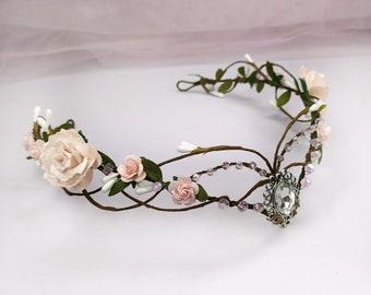 Blush pink elf crown Elven headpiece Woodland elven crown Elven circlet Elf tiara Elven fairy crown