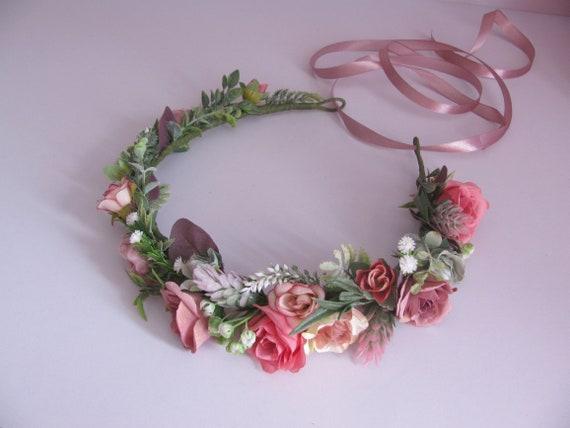 Altrosa Blume Krone Hochzeit Braut Blumen Krone Etsy