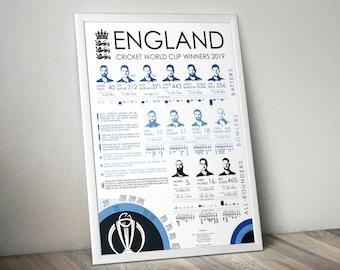 England Cricket World Cup 2019 Winners Stats Print Poster Wall Art