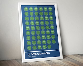 US Open Tennis Grand Slam Champions Stats Print Poster Wall Art