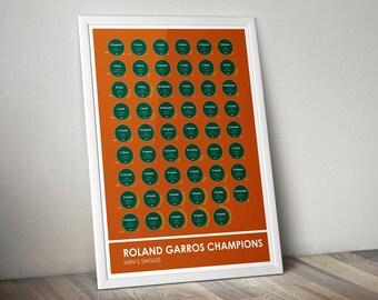 French Open Roland Garros Tennis Grand Slam Champions Stats Print Poster Wall Art