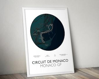 Monaco GP Track Map Formula 1 Wall Print/Poster Art