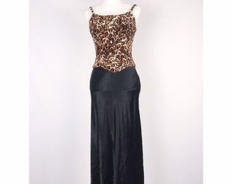 334ee3fe9 Jessica McClintock Gunne Sax Animal Print Bustier Corset Maxi Dress - XS