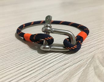 Manila rope, marine cord Bracelet orange neon simple bracelet, unisex Bracelet men/woman/child - REVERSE Collection