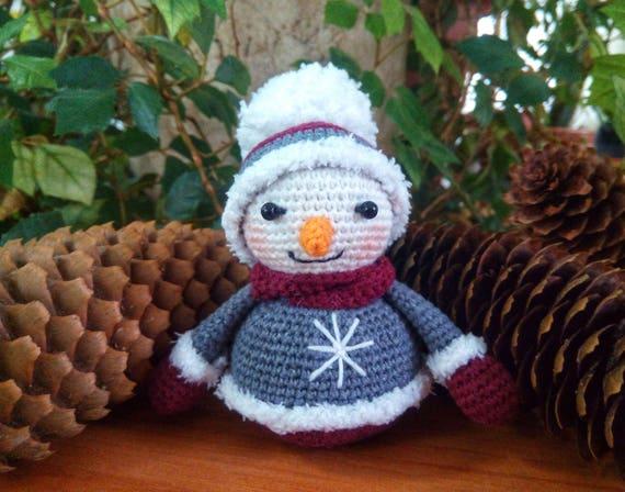 Crochet Snowman Christmas Snowman Decoration Snowman Ornament Etsy