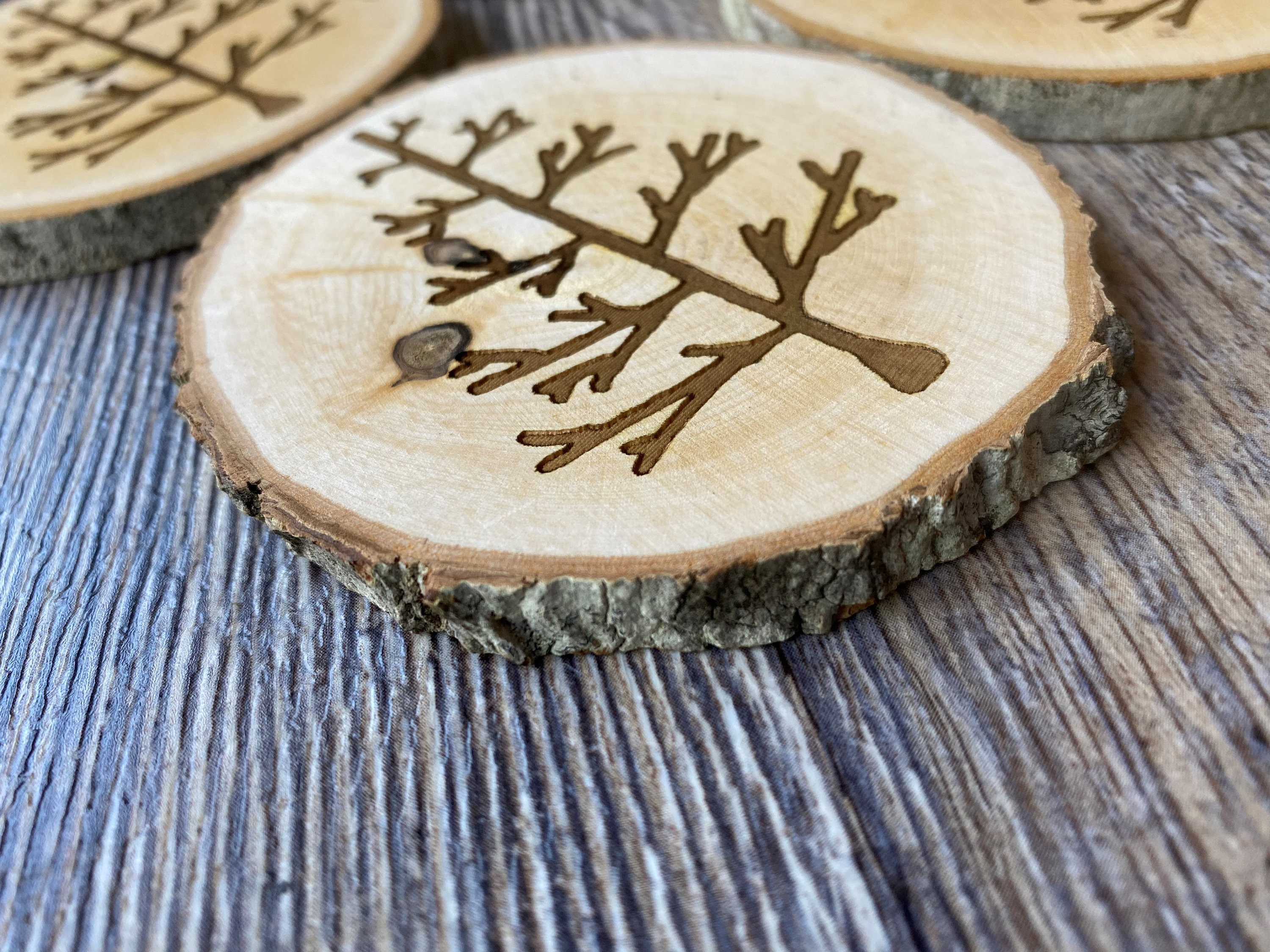 Natural Wood Coasters Tree Collection Set Of 4 Wooodburned Hand Painted