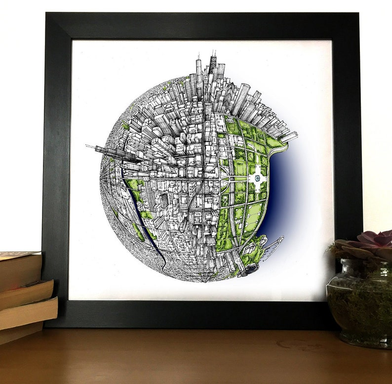 Hand Drawn Chicago 3D Globe Map Art Print