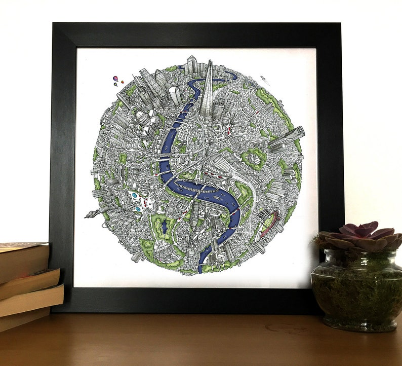 Hand Drawn London 3D Globe Map Art Print Birthday