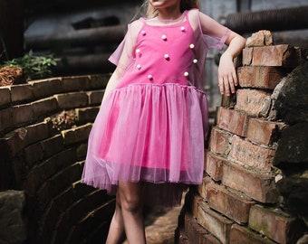 Tutu girl dress. Pompon dress. Summer dress Perfect Gift