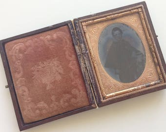 1860's Young Boy 1/9 Plate Ambrotype in Case (NAME/DOB KNOWN)