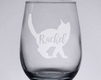 Cat Wine Glass Personalized, Cat Lover Gift, Etched Wine Glass, Custom Engraved Wine Glass, Bridesmaid, Birthday, Mother's Day, Christmas