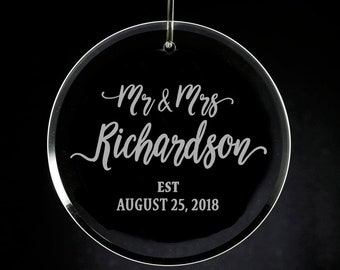 7a21e40bf Engraved Mr & Mrs Glass Ornament, Personalized Wedding Gift, Newlyweds, 1st  Christmas Married, Unique Gifts, Custom Ornament, Etched Glass