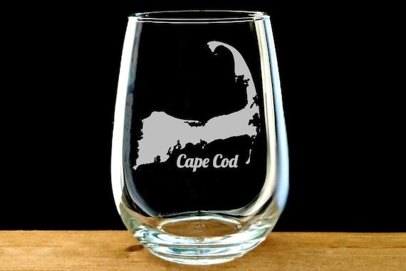 Cape Cod Wine Glass Cape Cod Map Glass Cape Code Gift Souvenir