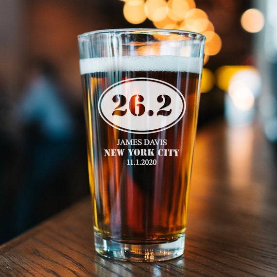 26 2 Beer Glass Marathon Gift Etched Pint Glass Gifts Etsy