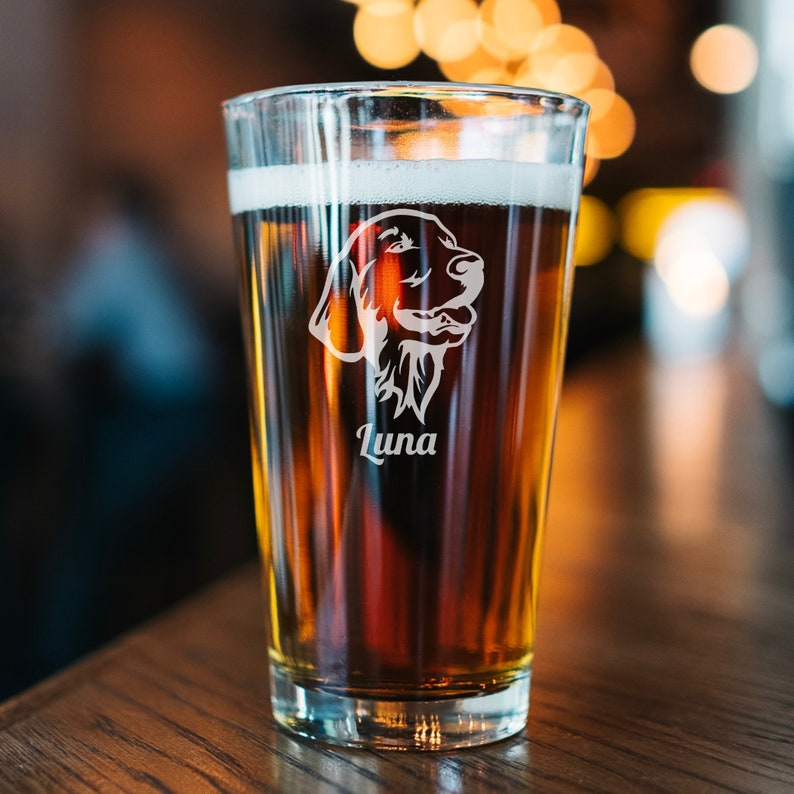Gifts for Golden Retriever Owners - Golden Retriever pint glass.