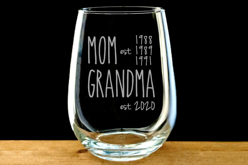 03d77a9d083 Mom est. Grandma est. Stemless Wine Glass / Engraved / New | Etsy