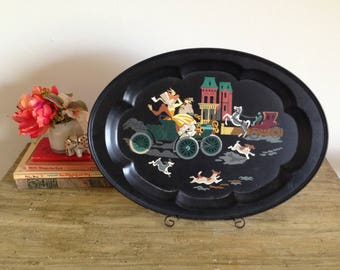 Toleware Horse and Carriage Serving Tray