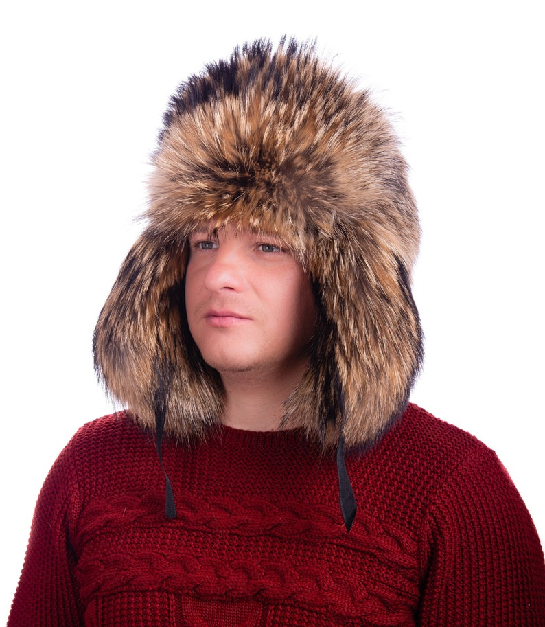 f98d43dc5797a Men Winter Real Raccoon fur high quality Hat Russian Ushanka Outdoor Cap US  stock