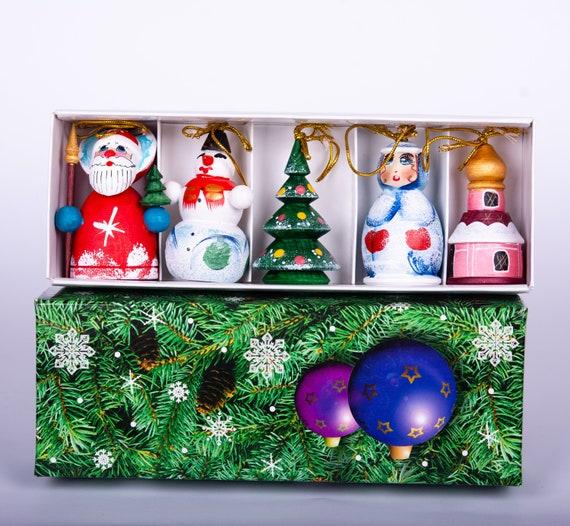 Russia Christmas Ornaments.Wooden Ornaments Set Hand Painted Christmas Ornaments Set Tree Decoration Russian Dolls