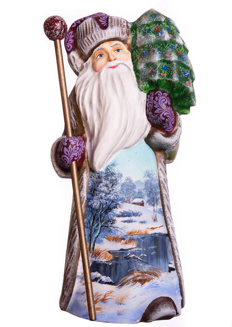 10 Hand carved ornament Carved Santa wooden Santa Claus figurine