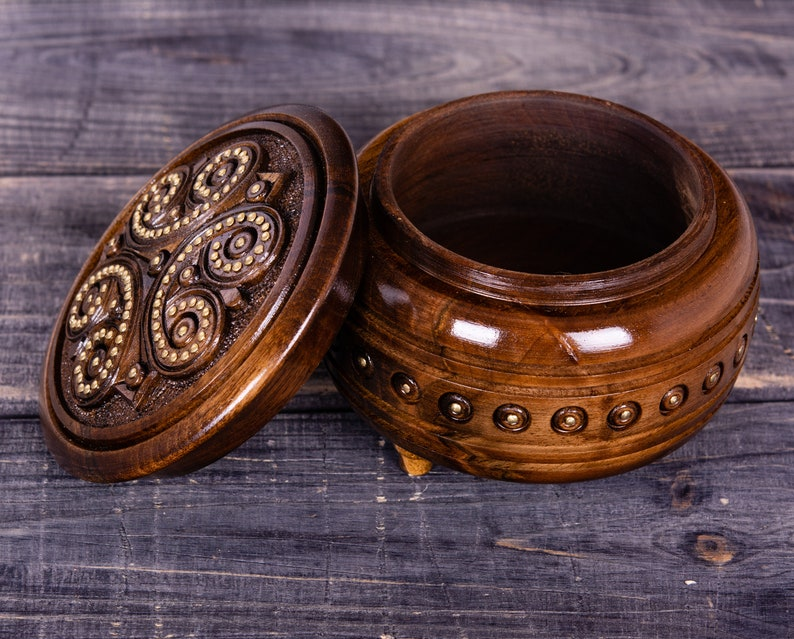 Large wooden jewelry box hand carved from walnut wood
