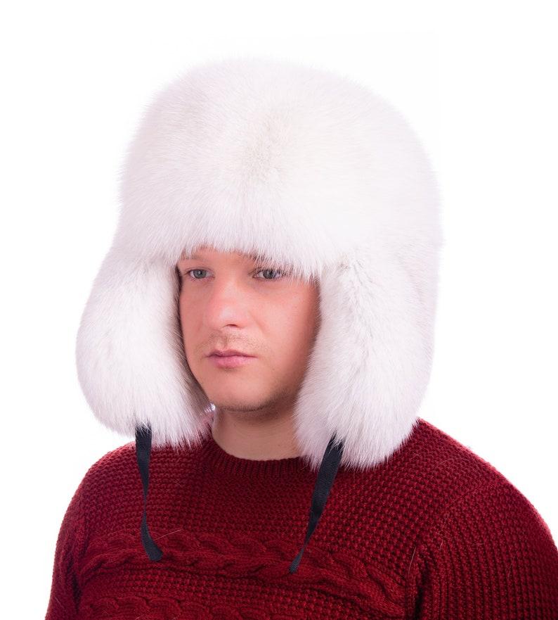 e14c831c5b33c Men Winter Real Polar Fox fur high quality Hat Russia Ushanka