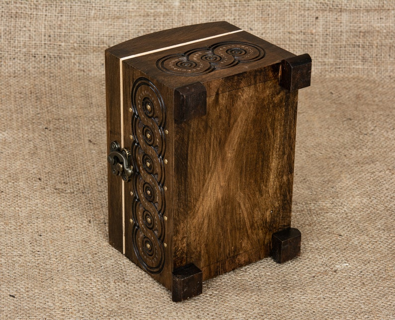 Small wooden jewelry box with hinget lid hand carved from walnut wood