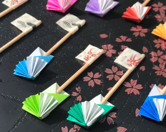 With flag toothpick of Kabuki _ stick bag set of 12