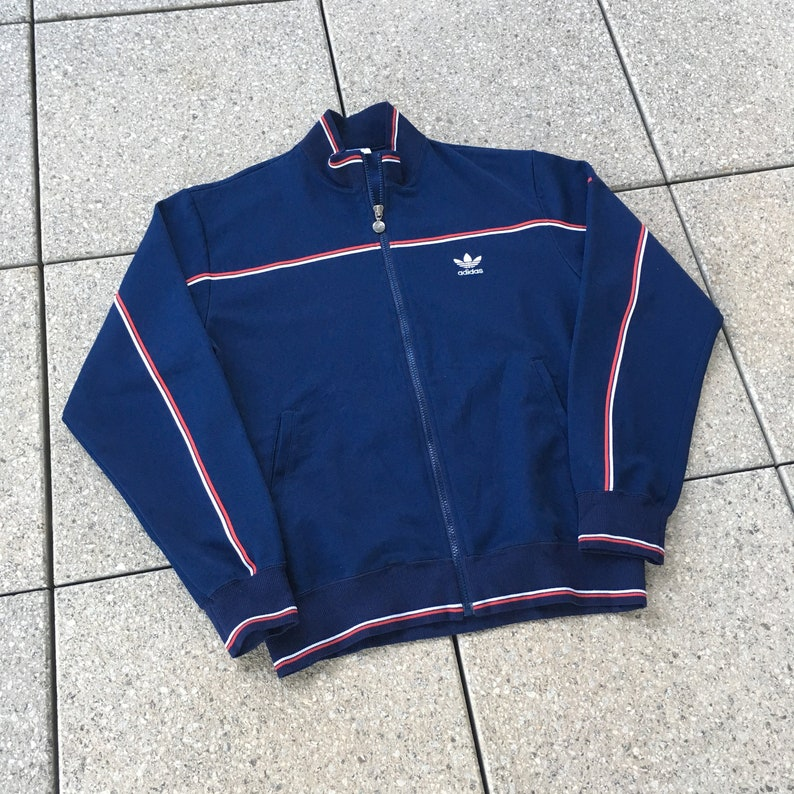 Vintage ADIDAS Track Jacket 90s Sports Navy Blue Color The Brand With the 3 Stripes
