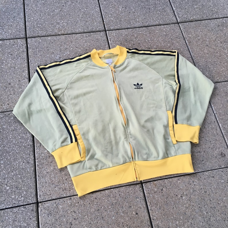 Vintage ADIDAS Track Jacket 90s Sports Yellow Color 3 Stripes