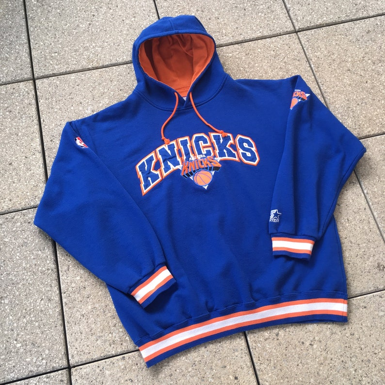 finest selection a3dc2 e045e Vintage New York KNICKS Hoodie by STARTER / Spellout and Logo / Classic 90s  Hip Hop Sports / NBA Big Design