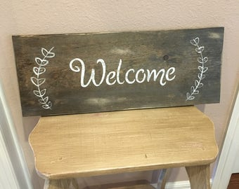 Entry table welcome sign