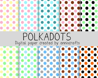 DIGITAL Paper Polkadots Colorful Commercial Use Scrapbook Paper Instant Download Printable Paper AnniscraftsPrintable