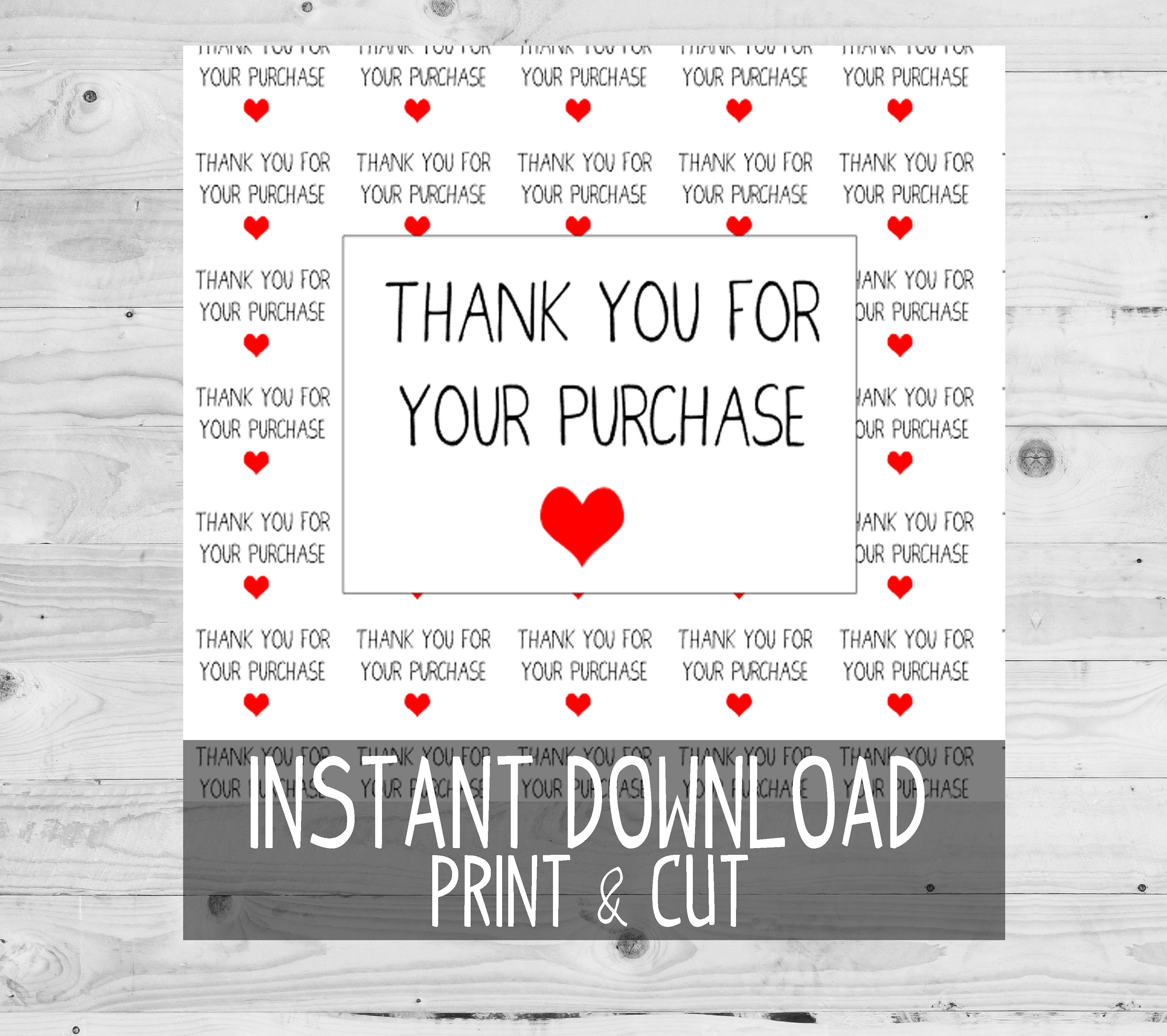 Printable Thank You For Your Purchase Rectangle Stickers