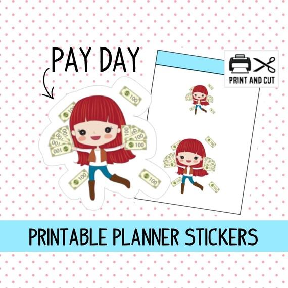 Druckbare Priscilla Geld Ausgeben Planner Aufkleber Zahlen Tag Aufkleber Glücklich Planner Aufkleber Rot Haar Mädchen Aufkleber Kawaii Sticker