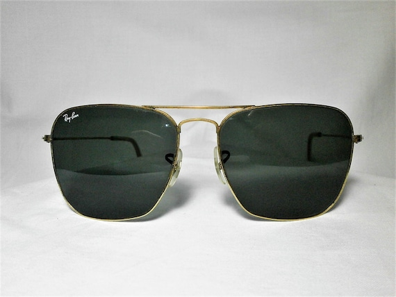 Ray Ban Caravan, 58 mm, sunglasses, 22kt gold plated, crystal lenses, B&L USA, vintage