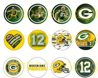 GREEN BAY PACKERS 1 inch bottle cap images - 4x6