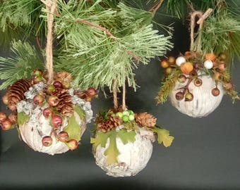 Set of 3 Rustic Farmhouse Shabby Chic White Birch Bark Woodsy Christmas Tree Ornaments, Tree Decorations, Natural Organic Holiday Decor