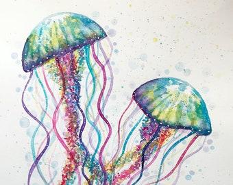 Two Jellyfish, Original Artwork